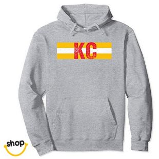 Kansas City Pullover Hoodie sweatshirt garment for female gifts or everyday fashion in red/yellow