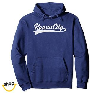 Female's Kansas City hooded sweatshirt hoodie outfit for Females' – color: royal blue / white