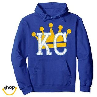 Kansas City pullover hoodie sweatshirt garments for female gifts or everyday fashion in royal blue / gold