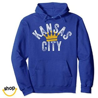 Girls' Kansas city pullover hoodie sweatshirts pro wear clothing – color: royal blue / white