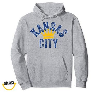 Kc pullover sweatshirt hoodie clothing for lady, college girls, youth ladies or teen in royal blue / gold