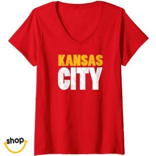 Kansas City Vneck teeshirt clothing for Females' in red/yellow/white