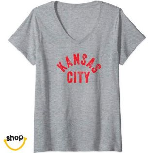 Kansas City Vneck Tshirt garment for female gifts or everyday fashion in red/yellow