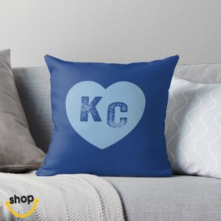 I love Kc letters heart Couch Pillow Color: Powder blue