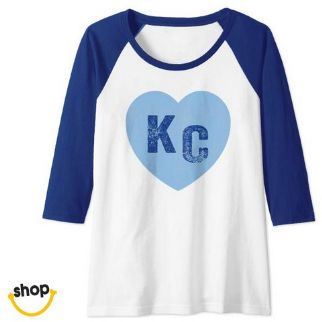 Girl's KC long-sleeve Shirt apparel for her – color: royal blue / white