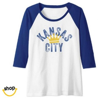 kc Longsleeve Tee clothing for lady, College girl, youth ladies or teens in royal blue / gold