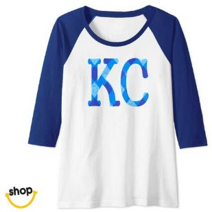 Kansas City Long sleeve tee-shirt clothing for females' in royal blue / gold / white