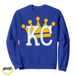 KC sweatshirt clothing for Female's, college girls, children or youth in royal blue / Yellow / white